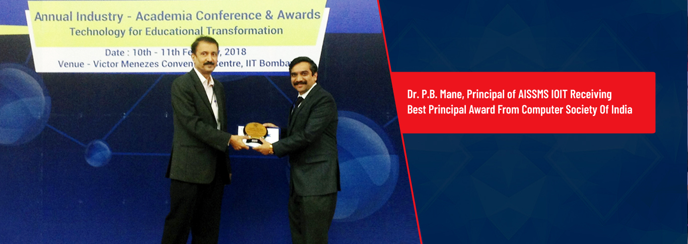 <p>Dr.P.B.Mane, Principal of AISSMS IOIT Receiving Best Principal Award From Computer Society Of India</p>